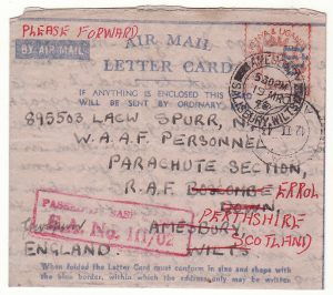 MADAGASCAR - GB…WW2 CENSORED BLUE on PINK LIGHTWIEGHT  AMLC...
