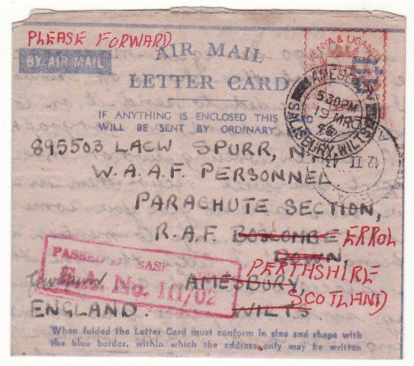 MADAGASCAR - GB…WW2 CENSORED BLUE on PINK LIGHTWIEGHT  AMLC...