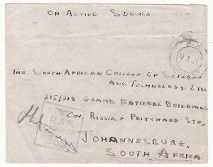 MADAGASCAR - SOUTH AFRICA…WW2 RAF CENSOR...