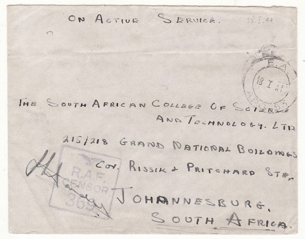 MADAGASCAR - SOUTH AFRICA…WW2 RAF CENSOR...