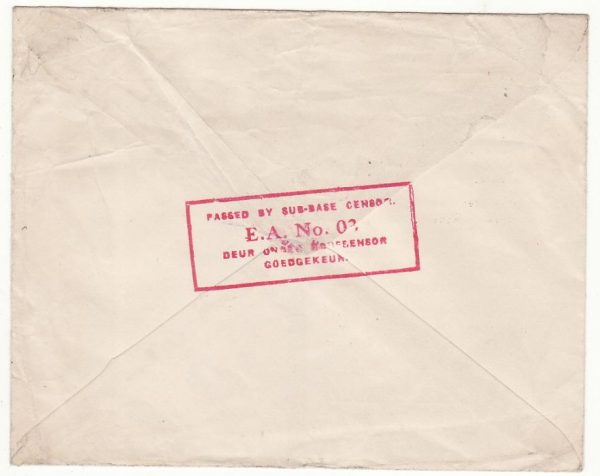 KENYA - SOUTH AFRICA..WW2 EAST AFRICAN HONOUR ENVELOPE