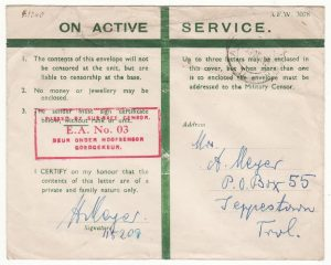KENYA - SOUTH AFRICA..WW2 EAST AFRICAN HONOUR ENVELOPE