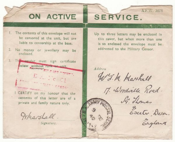 KENYA - GB..WW2 EAST AFRICAN HONOUR ENVELOPE…