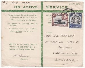 KENYA - GB..WW2 EAST AFRICAN HONOUR ENVELOPE with LETTER…