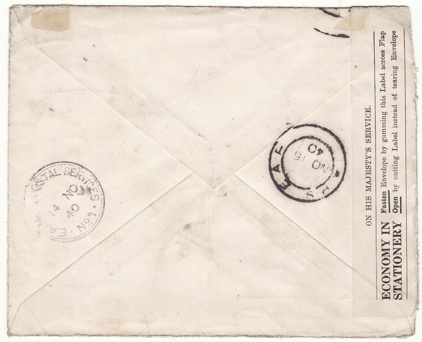 [20499]  KENYA - GB..WW2 EAST AFRICAN CENSORED HONOUR ENVELOPE…  1940 (Nov 20)