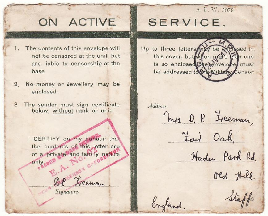 [20500]  KENYA - GB..WW2 EAST AFRICAN CENSORED HONOUR ENVELOPE…  1941 (Apr 24)