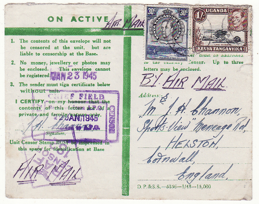 [20503]  KENYA - GB..WW2 EAST AFRICAN CENSORED HONOUR ENVELOPE…  1945 (Jan 22)