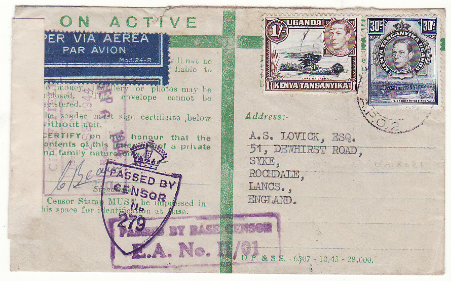 [20506]  KENYA - GB..WW2 EAST AFRICAN CENSORED HONOUR ENVELOPE…  1944 (Sep 2)
