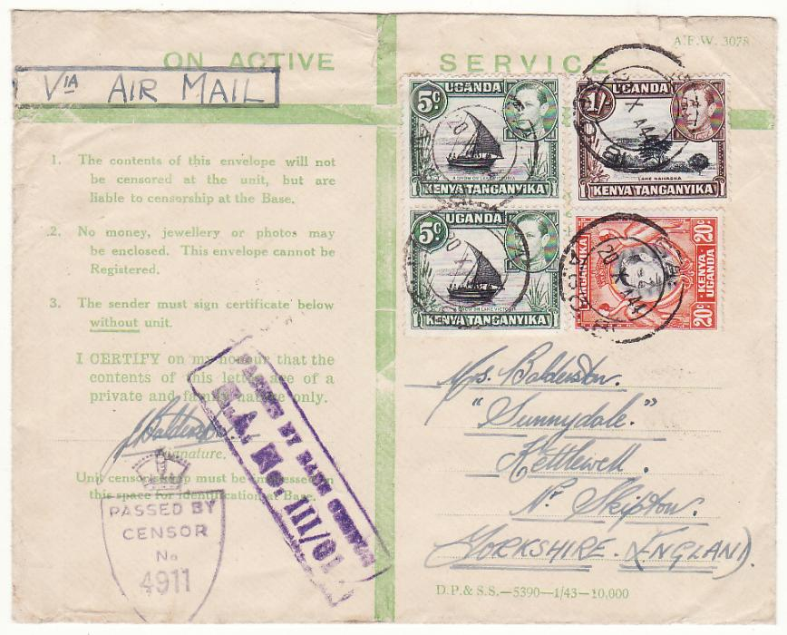 [20509]  KENYA - GB..WW2 EAST AFRICAN CENSORED HONOUR ENVELOPE…  1944 (Oct 20)