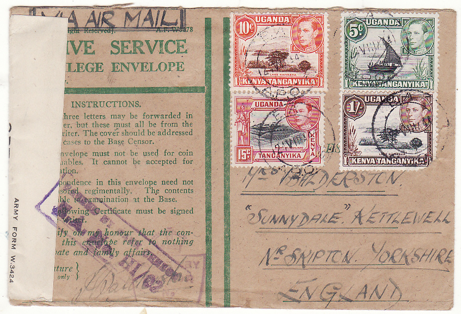 [20514]  KENYA - GB..WW2 CENSORED HONOUR ENVELOPE…  1944 (Aug 24)
