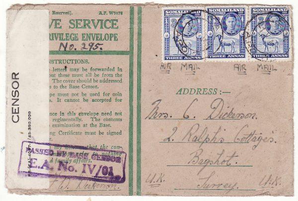 BRITISH SOMALILAND - GB….WW2 BRITISH FORCES HONOUR ENVELOPE…