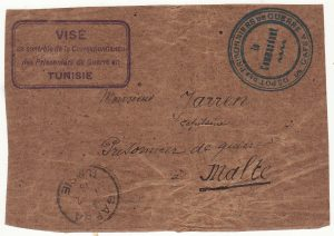 TUNISIA - MALTA …WW1 POW to POW Envelope front..
