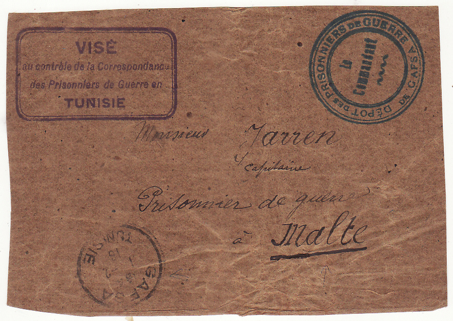 [20523]  TUNISIA - MALTA …WW1 POW to POW Envelope front..  