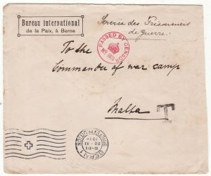 SWITZERLAND - MALTA…WW1 POW MAIL with TAXE HANDSTAMP…