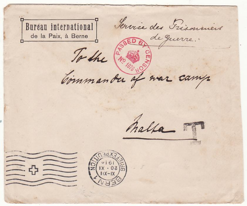 [20524]  SWITZERLAND - MALTA…WW1 POW MAIL with TAXE HANDSTAMP…  