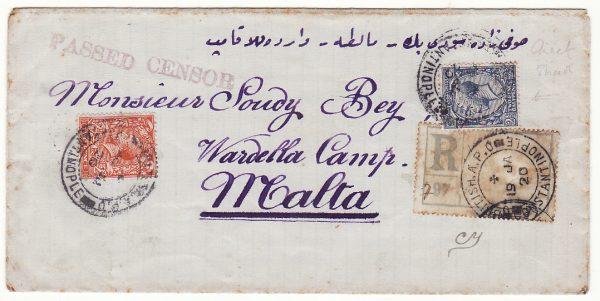 TURKEY - MALTA …1920 BRITISH LEVANT REGISTERED to TURKISH POW …