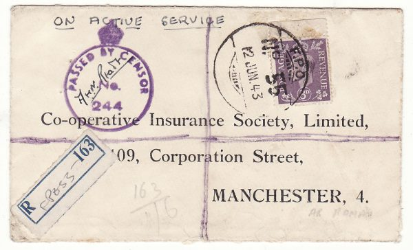 PALESTINE - GB …INDIAN REGISTERED CENSORED INDIAN FPO 55 at AR RAMA ..