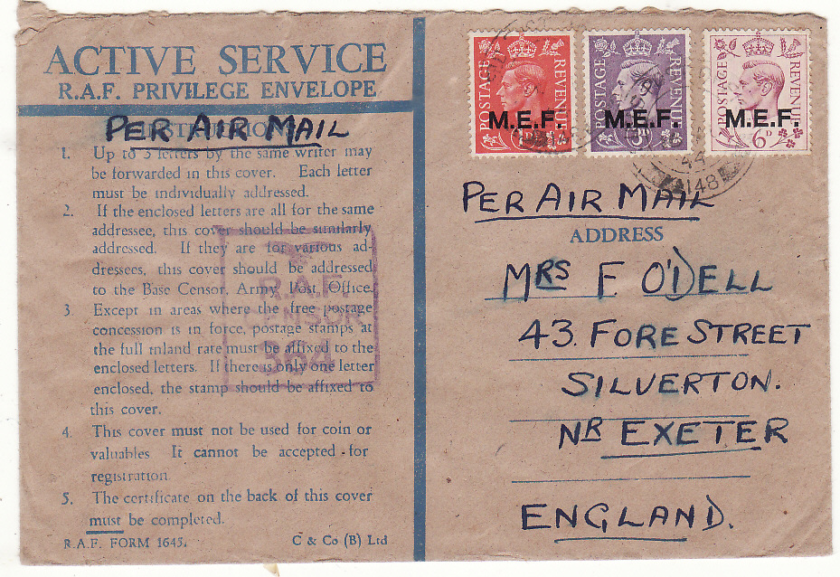 [20542]  PALESTINE - GB …RAF HONOUR ENVELOPE..  1944 (Aug 16)