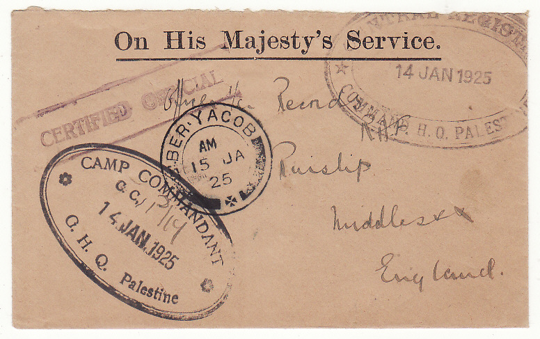 [20545]  PALESTINE - GB …MANDATE PERIOD O.H.M.S. CERTIFIED OFFICIAL..  1925 (Jan 15)