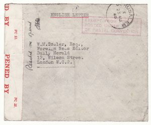 PALESTINE - GB … WW2 INTERNEE MAIL..