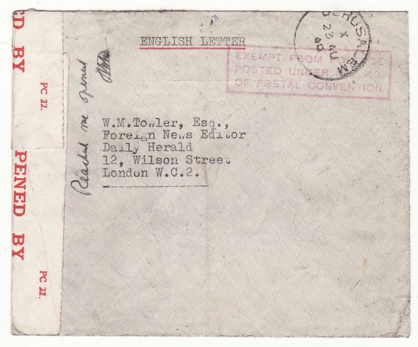 PALESTINE - GB … WW2 INTERNEE MAIL..