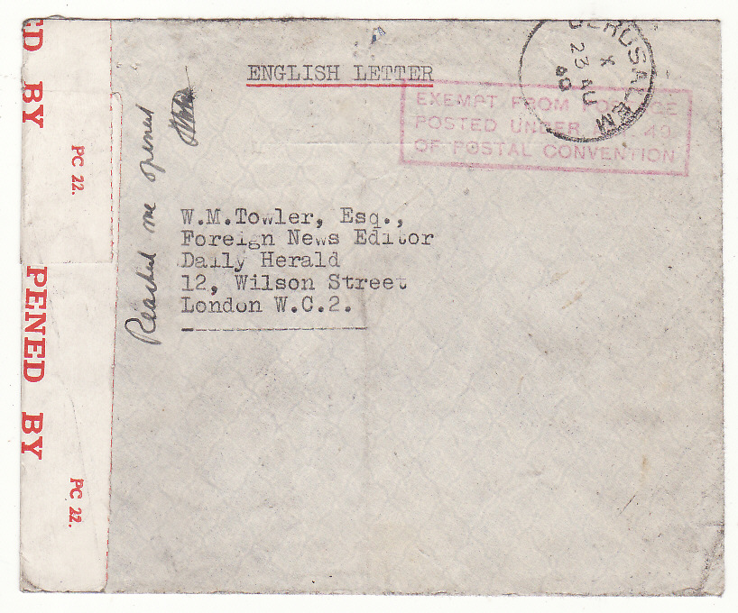 [20546]  PALESTINE - GB … WW2 INTERNEE MAIL..  1940 (Aug 23)