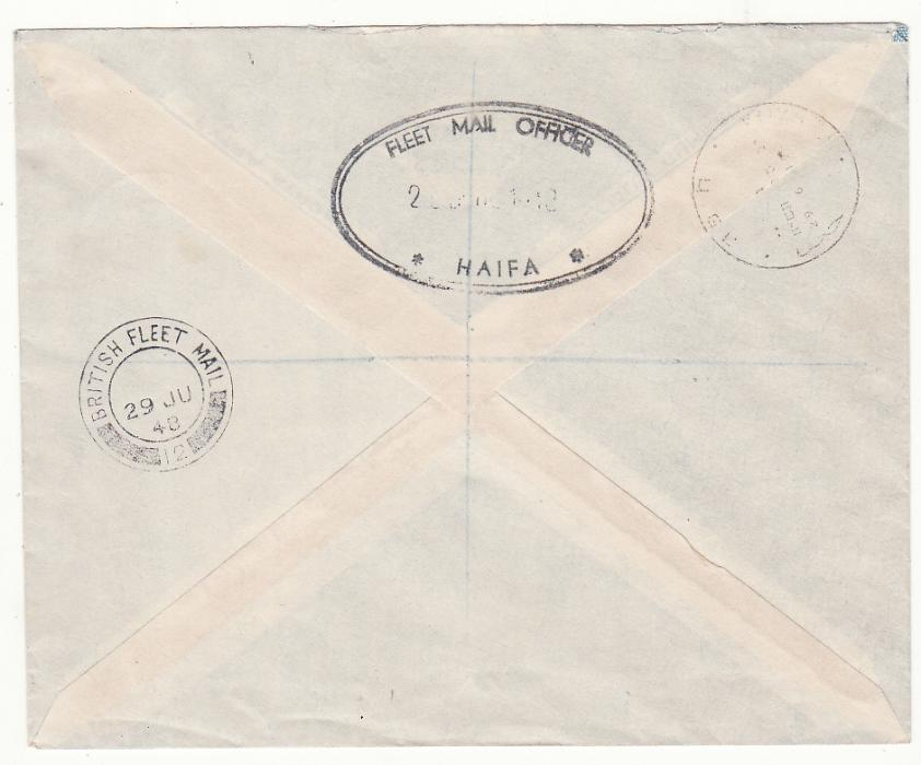 [20548]  PALESTINE …BRITISH FLEET MAIL OFFICE REGISTERED..  1948 (Jun 29)