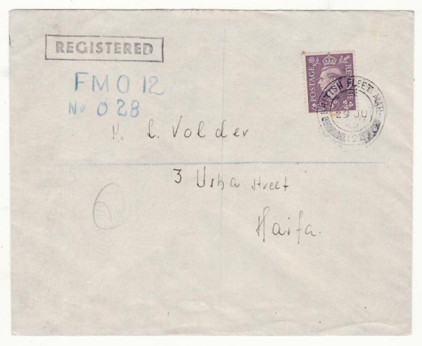 PALESTINE …BRITISH FLEET MAIL OFFICE REGISTERED..