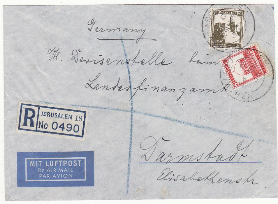 [20551]  PALESTINE - GERMANY…REGISTERED with HAIFA - RAFA T.P.O...  1936 (May 24)