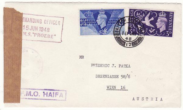 PALESTINE - AUSTRIA…BRITISH FLEET MAIL 12..HMS PHOEBE…