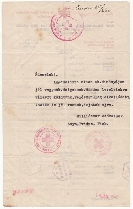[20556]  PALESTINE - HUNGARY..WW2 RED CROSS MESSAGE..  