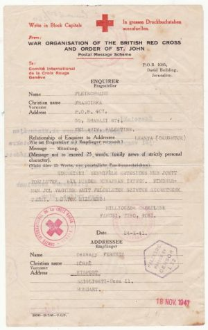 PALESTINE - HUNGARY..WW2 RED CROSS MESSAGE..