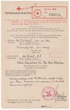 NETHERLANDS - PALESTINE..WW2 RED CROSS MESSAGE..