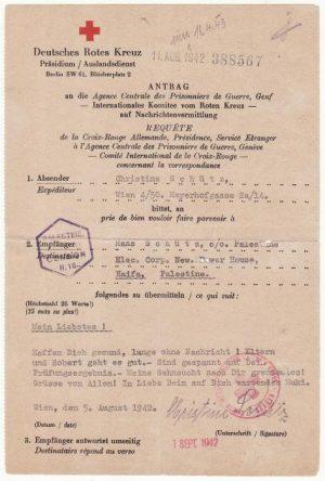 AUSTRIA - PALESTINE..WW2 RED CROSS MESSAGE..
