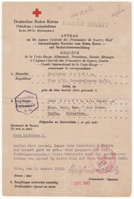 AUSTRIA - PALESTINE..WW2 RED CROSS MESSAGE..