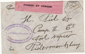 PORTUGUESE COLS. - SOUTH AFRICA …WW1 LOURENCO MARQUES POW to PORT NAPIER POW…