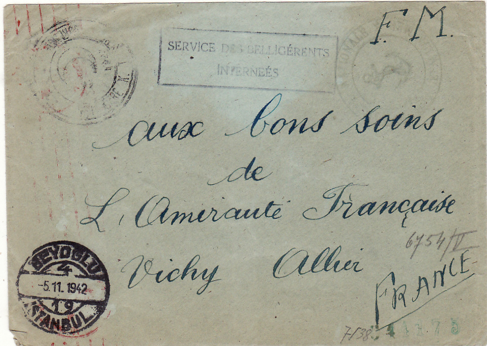 [20574]  TURKEY - FRANCE…WW2 INTERNED FRENCH SHIP..  1943 (Nov 5)