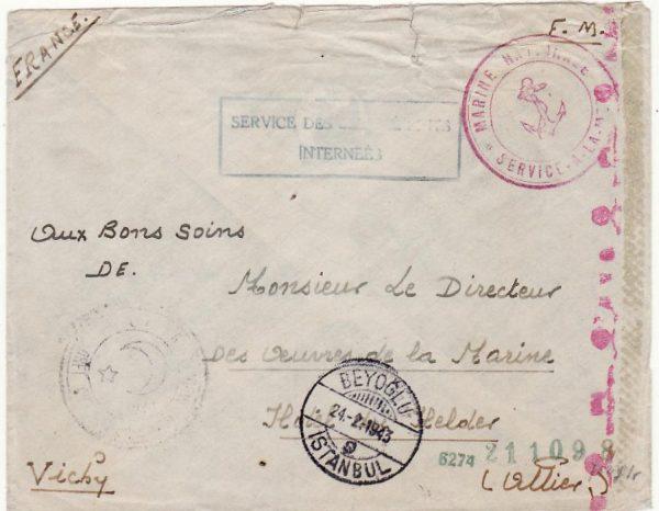 TURKEY - FRANCE…WW2 INTERNED FRENCH SHIP..