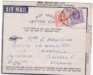 MAURITIUS - GB…WW2 AMLC with UNRECORDED CENSORSHIP..