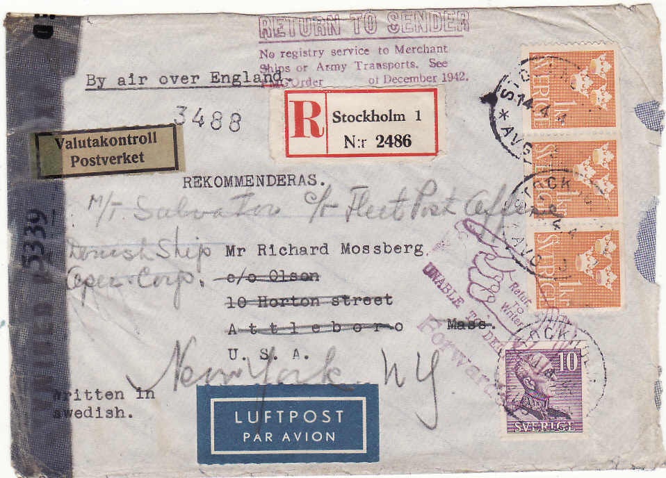 [20578]  SWEDEN - USA…REGISTERED CENSORED UNDEROVER AIRMAIL RETURNED TO SENDER..  1944 (Apr 14)